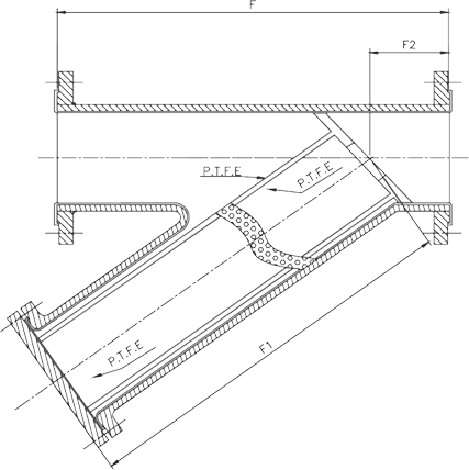 SS 304 Lined Y Type Strainer Dimensions